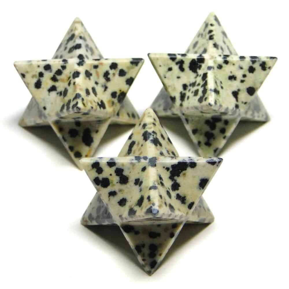 Dalmatian Jasper Merkaba Stars