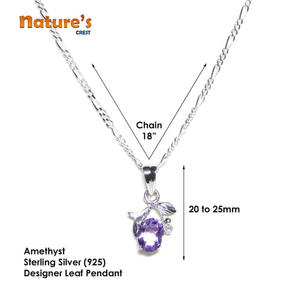 Amethyst Faceted Sterling Silver Designer Leaf Pendant Nature's Crest LP001 ₹ 999.00