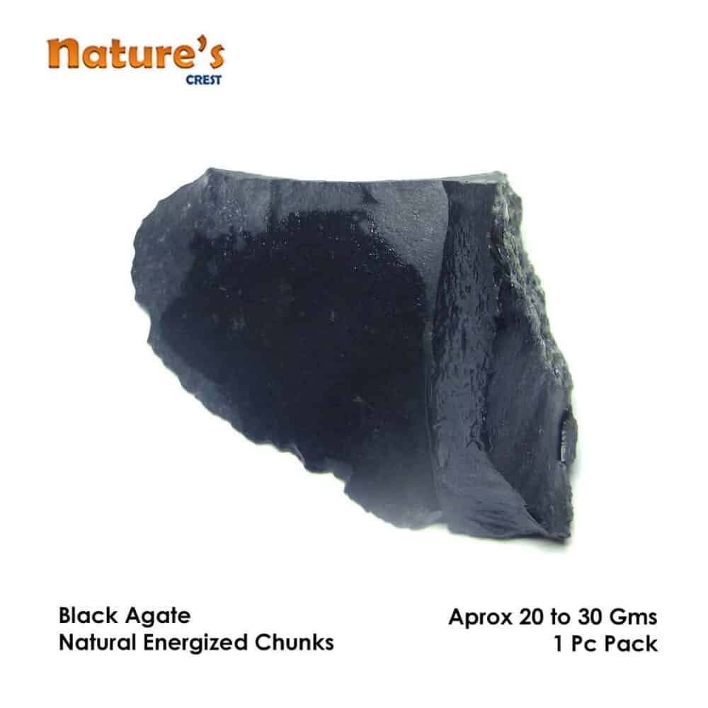 Black Agate Natural Raw Rough Chunks Nature's Crest RC018 ₹199.00
