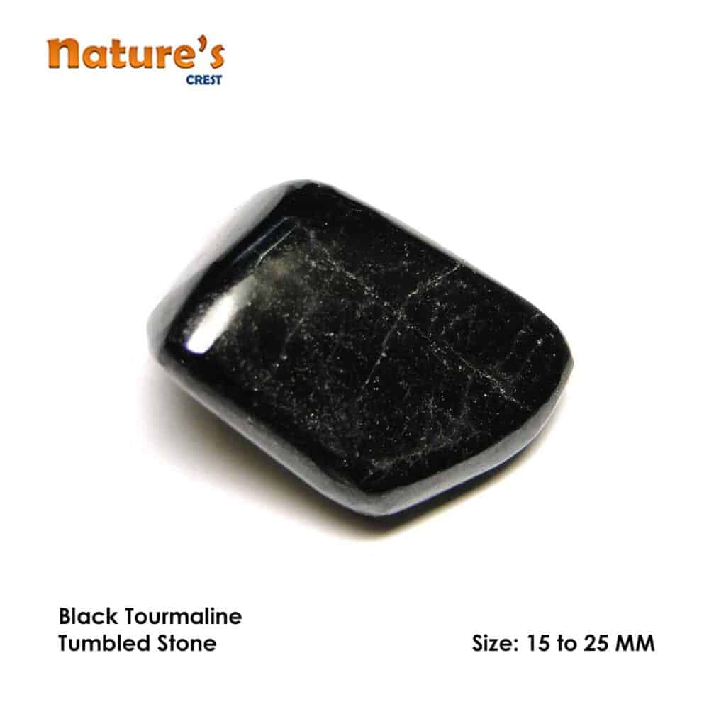 Black Tourmaline Tumbled Pebble Stones Nature's Crest TS002 ₹ 249.00