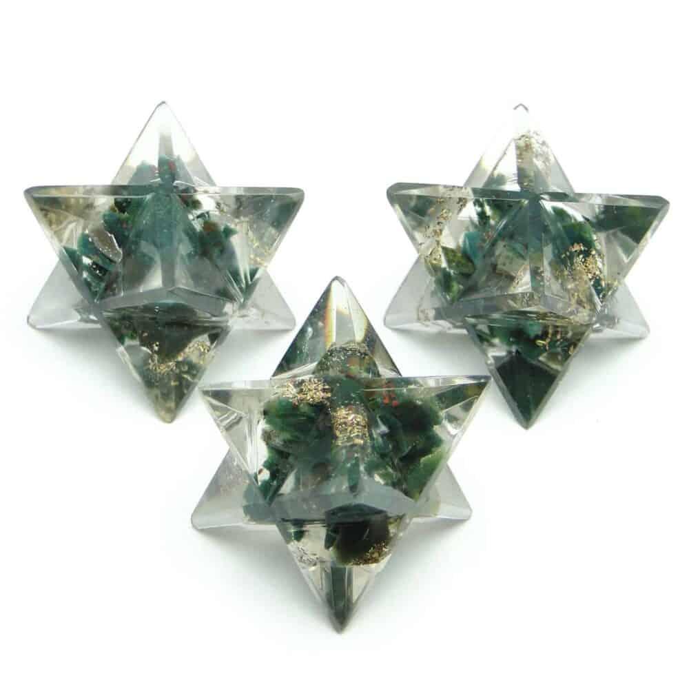 Blood Stone (Heliotrope) Orgone 8 Point Merkaba Star Nature's Crest OMS003 ₹249.00
