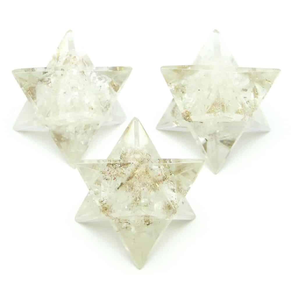 Crystal Quartz (Sphatik) Orgone 8 Point Merkaba Star Nature's Crest OMS006 ₹249.00