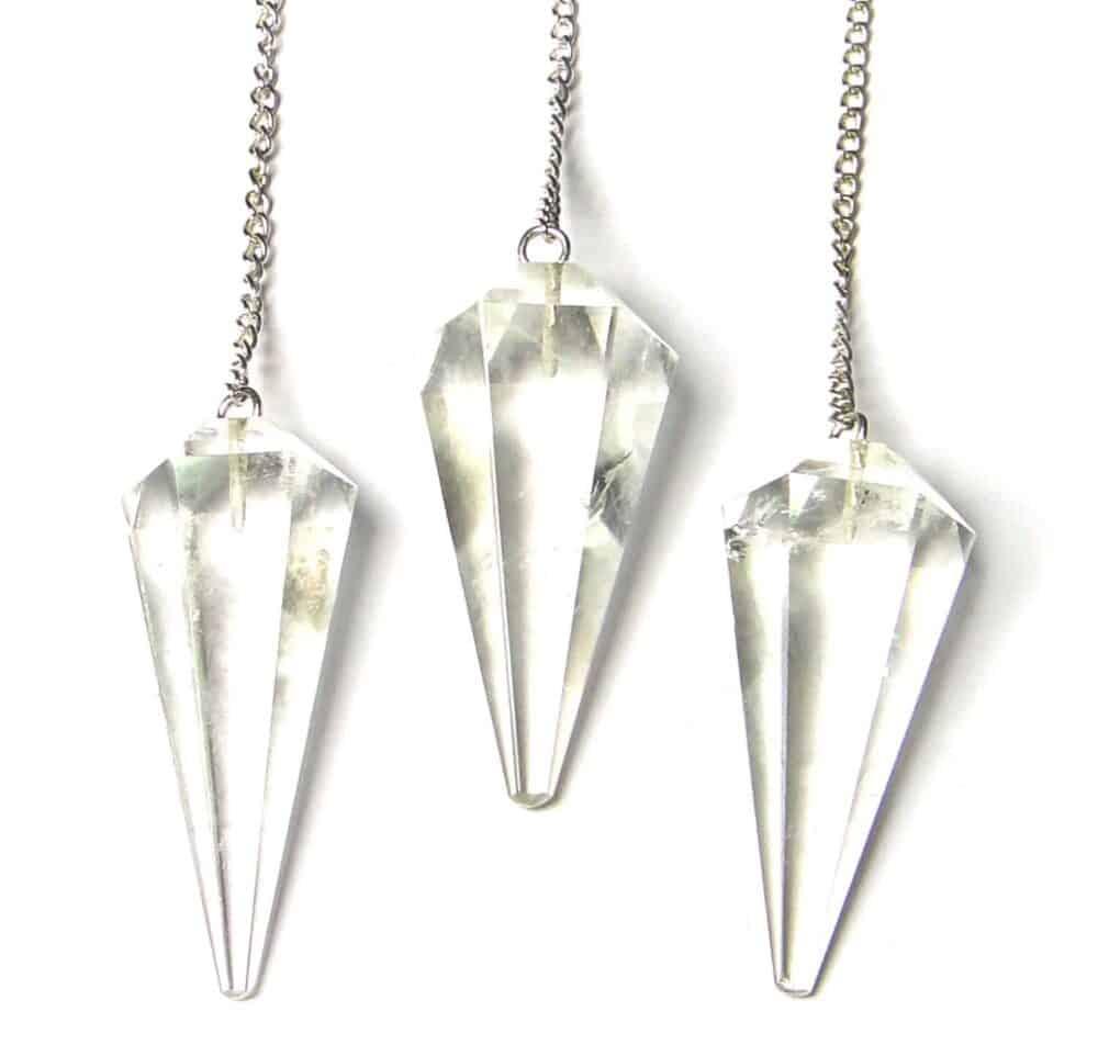 Crystal Quartz (Sphatik) Faceted Dowsing Pendulum Nature's Crest PD010 ₹249.00