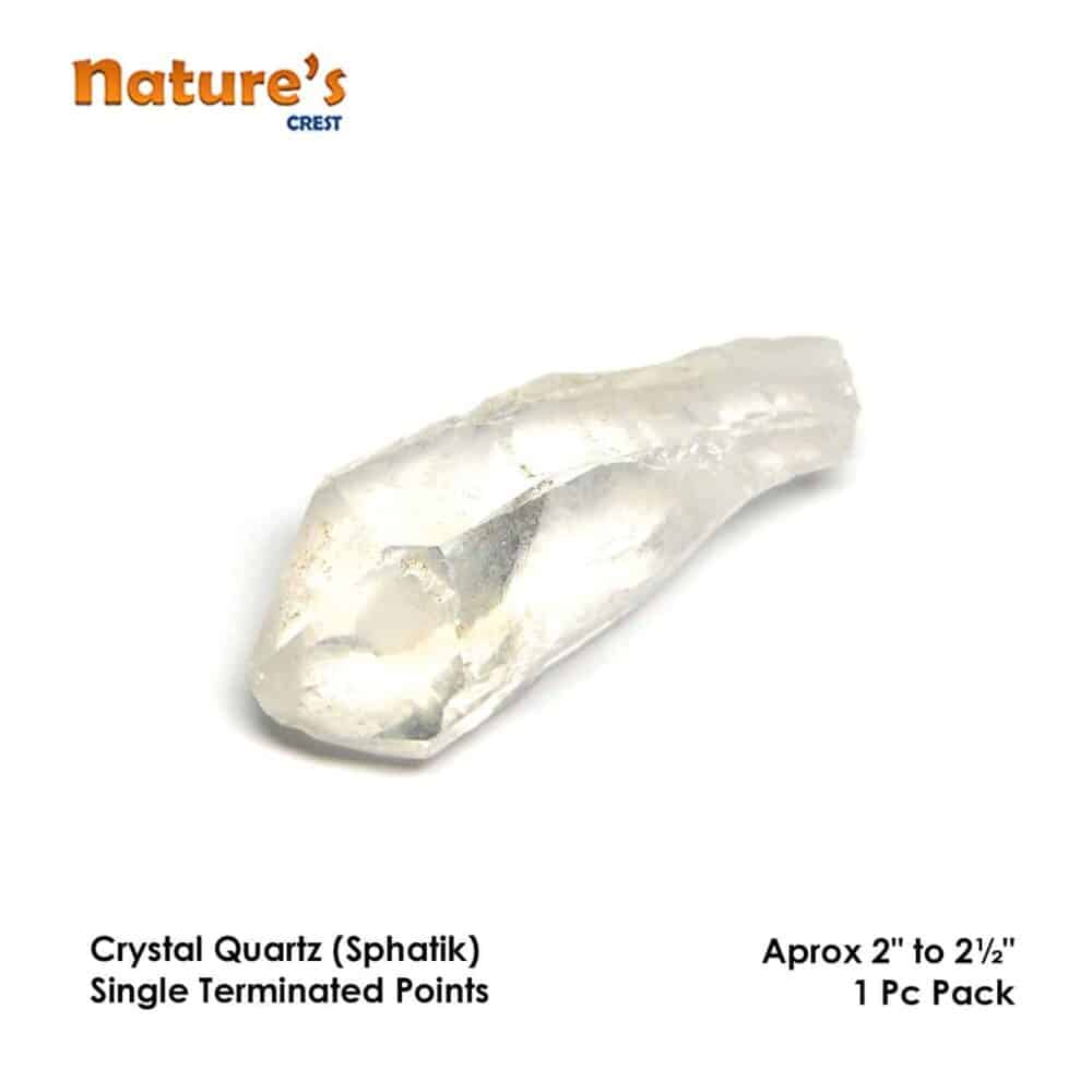 Crystal Quartz (Sphatik) Single Terminated Point Natural Raw Rough Pencils Nature's Crest RC010 ₹ 299.00