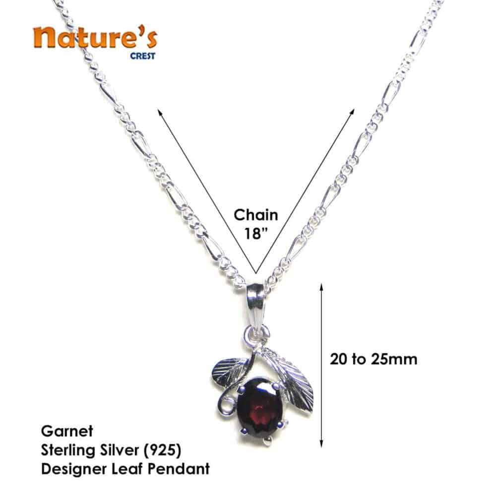 Garnet Facetted Sterling Silver Designer Leaf Pendant Nature's Crest LP003 ₹ 999.00