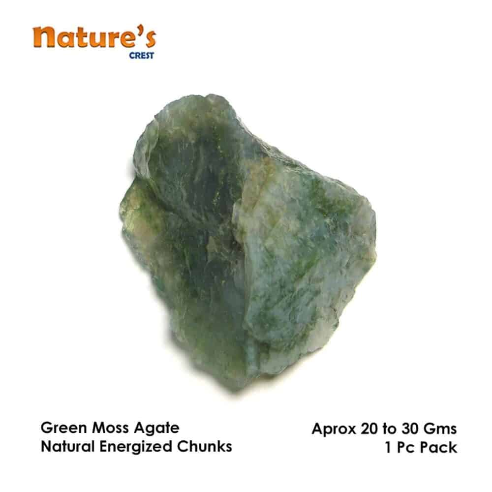 Green Moss Agate Natural Raw Rough Chunks Nature's Crest RC015 ₹199.00