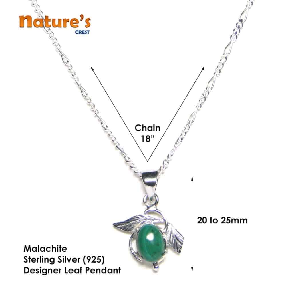 Malachite Sterling Silver Designer Leaf Pendant Nature's Crest LP009 ₹ 999.00