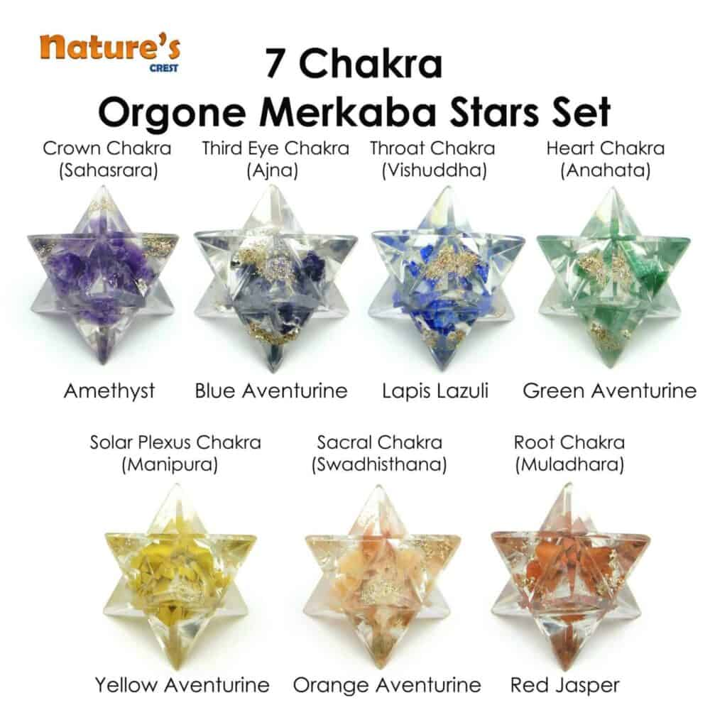 Chakra Orgone Merkaba Star 8 Point Set of 7 Pcs Nature's Crest OMS017 ₹ 999.00