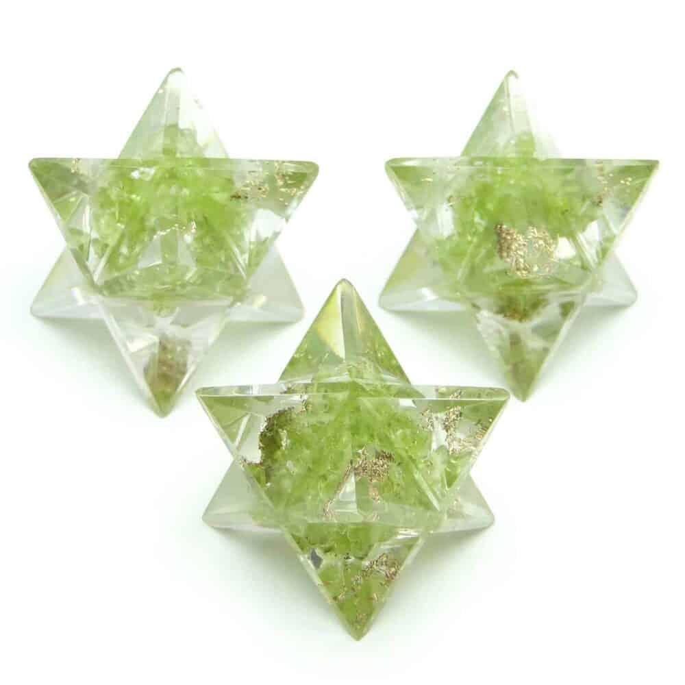 Peridot Orgone 8 Point Merkaba Star Nature's Crest OMS010 ₹249.00