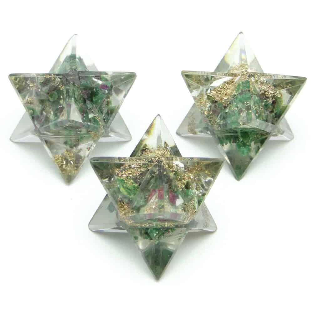 Ruby Fuchsite (Manek / Manik) Orgone 8 Point Merkaba Star Nature's Crest OMS013 ₹249.00