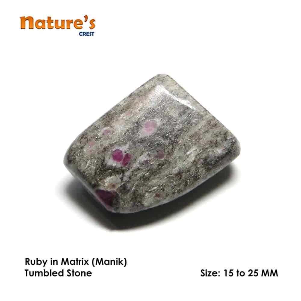 Ruby in Matrix (Manek / Manik) Tumbled Pebble Stones Nature's Crest TS015 ₹249.00