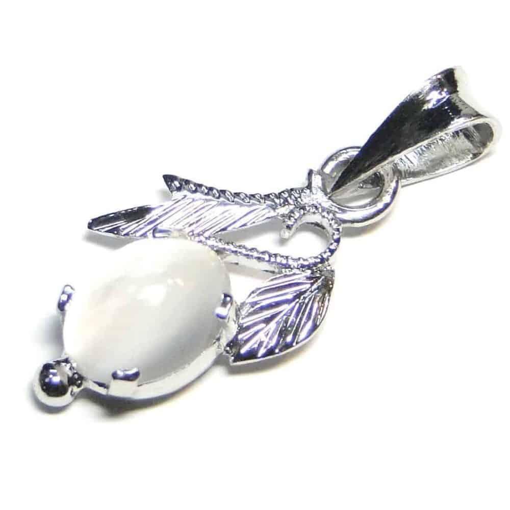 Moonstone White Sterling Silver Designer Leaf Pendant Nature's Crest LP007 ₹999.00