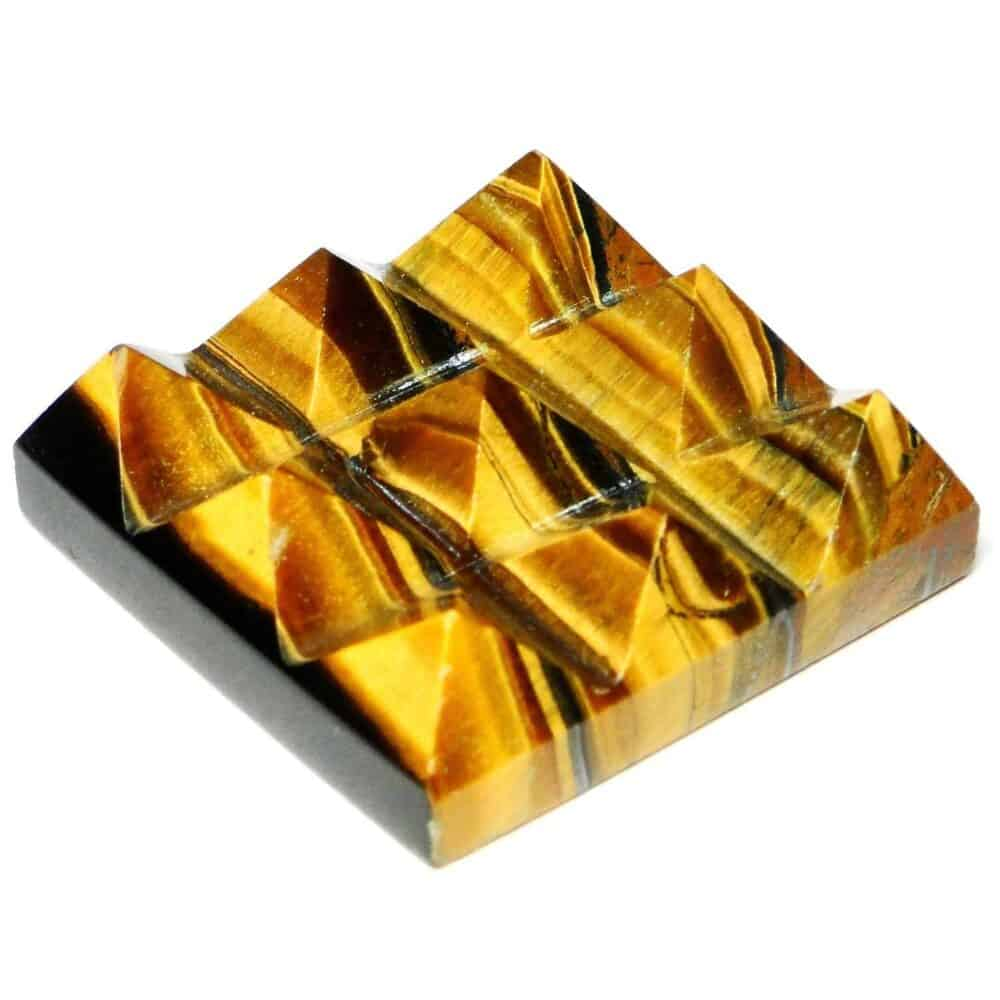Tiger Eye Yellow Lemurian 9 Pyramid Charging Plate Nature's Crest PY9004 ₹ 449.00