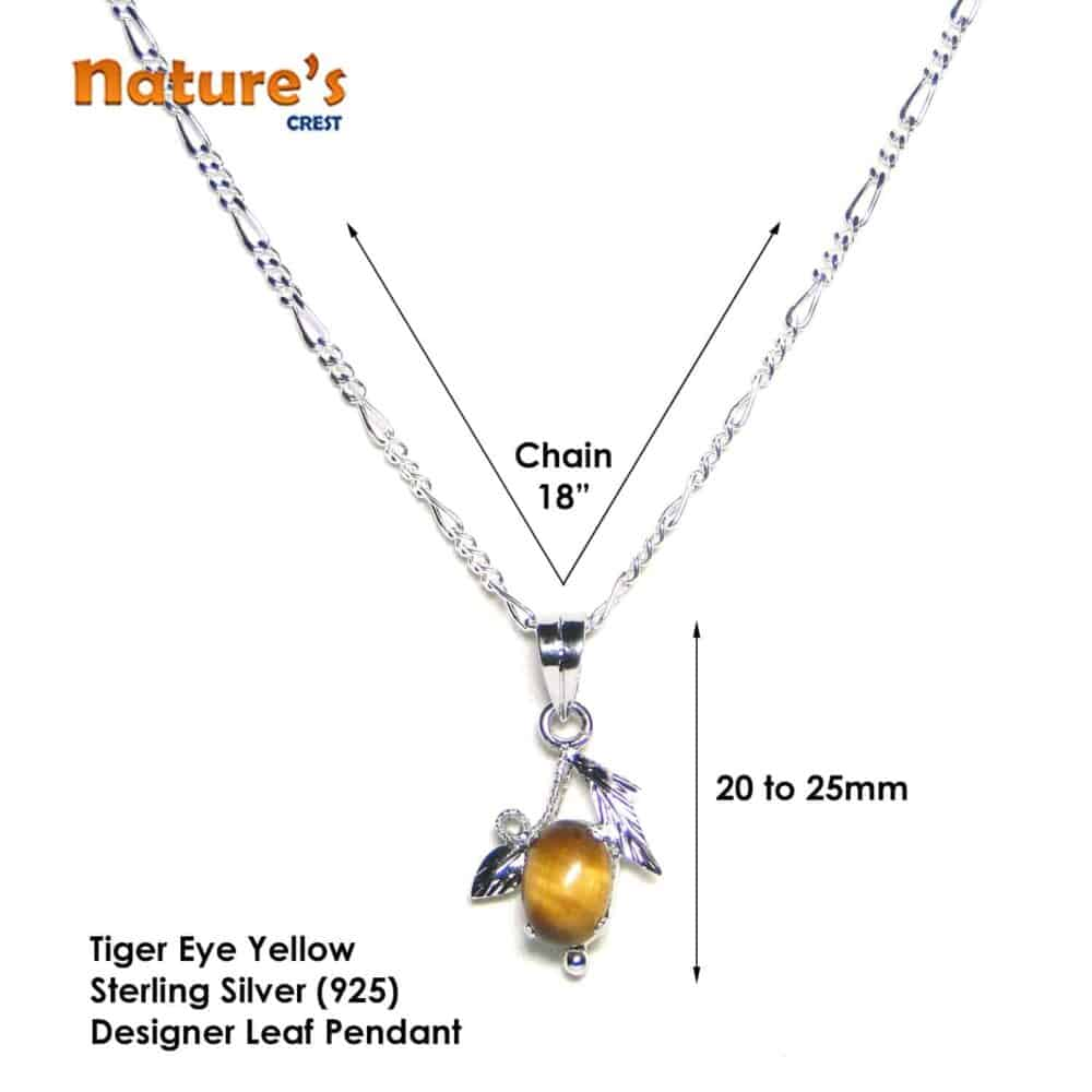 Tiger Eye Yellow Sterling Silver Designer Leaf Pendant Nature's Crest LP008 ₹ 999.00