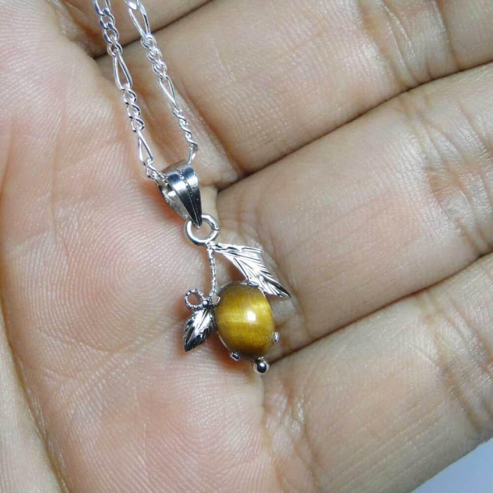 Tiger Eye Yellow Sterling Silver Designer Leaf Pendant Nature's Crest LP008 ₹999.00