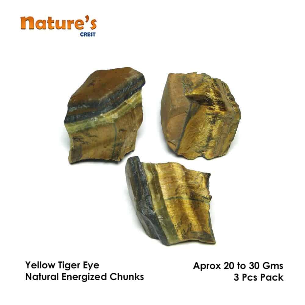 Tiger Eye Yellow Natural Raw Rough Chunks Nature's Crest RC012 ₹ 249.00