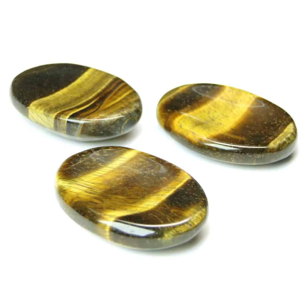 Tiger Eye Yellow Worry Stone Palm Stone Thumb Stone Nature's Crest WS0010 ₹ 269.00