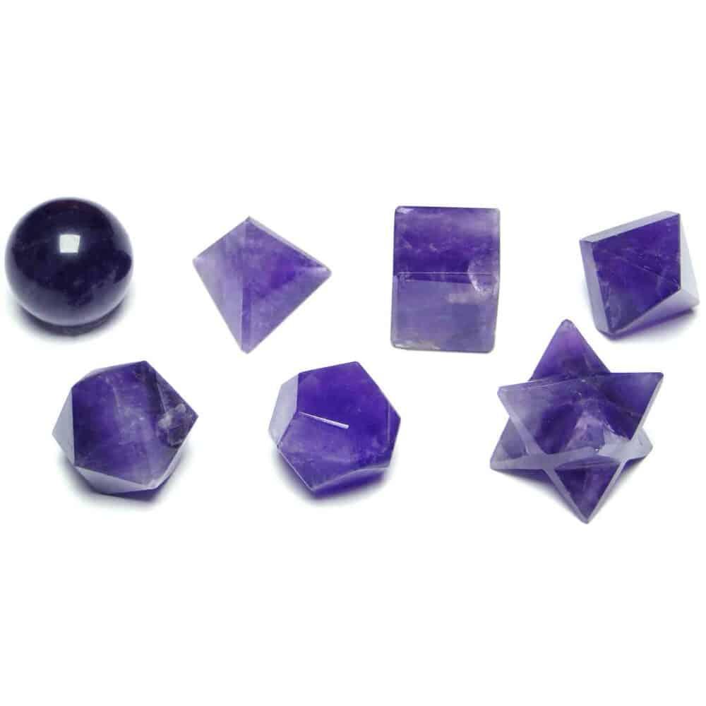 Amethyst Platonic Solids 7 Pcs Set Sacret Geometry Set Nature's Crest GS7002 ₹1,399.00