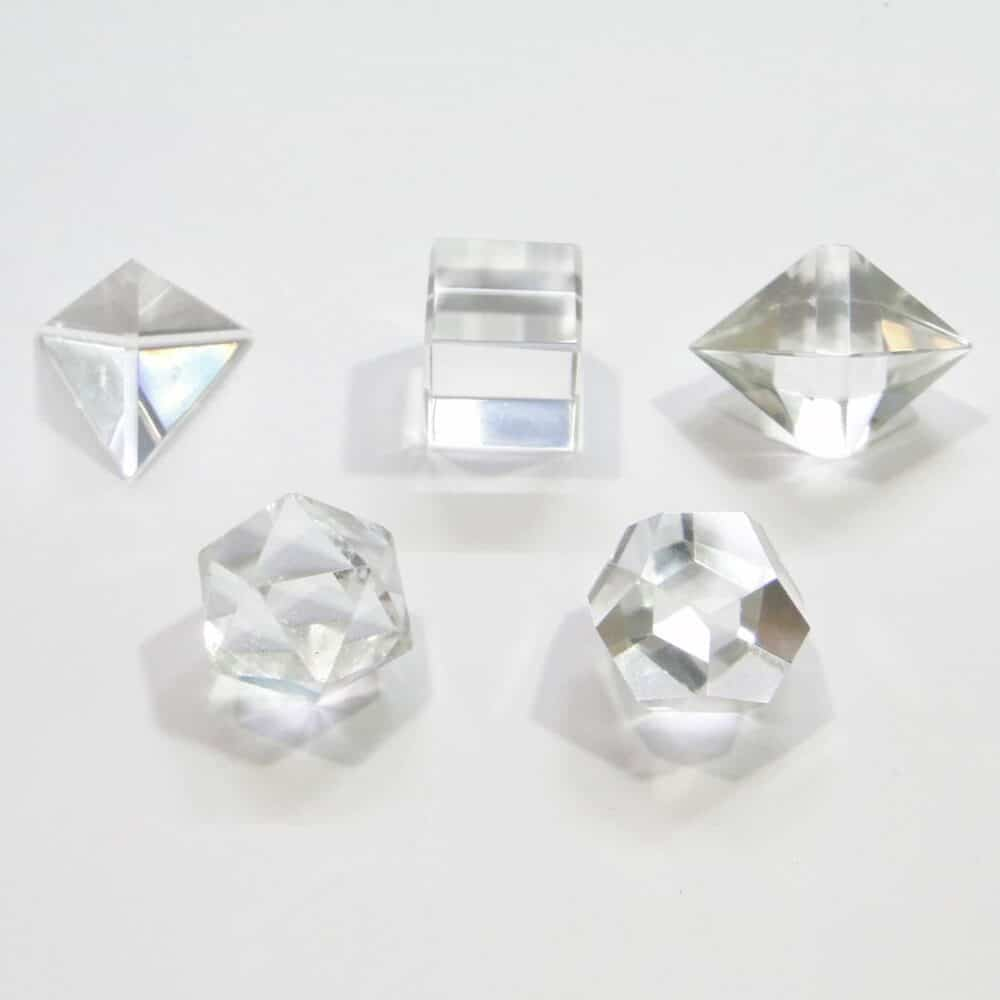 Crystal Quartz (Sphatik) Platonic Solids 5 Pcs Sacret Geometry Set Nature's Crest GS5001 ₹999.00