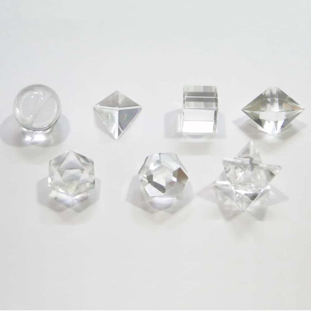 Crystal Quartz (Sphatik) Platonic Solids 7 Pcs Set Sacret Geometry Set Nature's Crest GS7001 ₹1,399.00