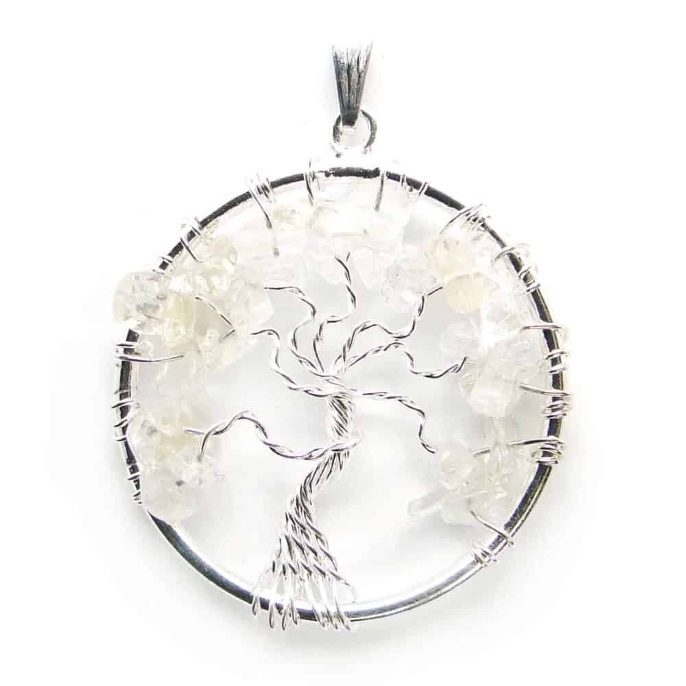 Crystal Quartz (Sphatik) Tree of Life Pendant Nature's Crest TOL005 ₹ 249.00