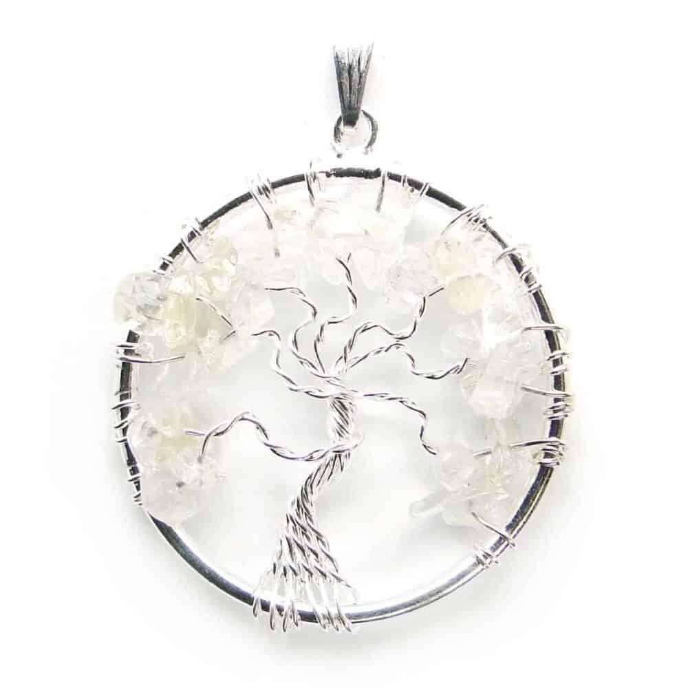 Crystal Quartz (Sphatik) Tree of Life Pendant Nature's Crest TOL005 ₹249.00