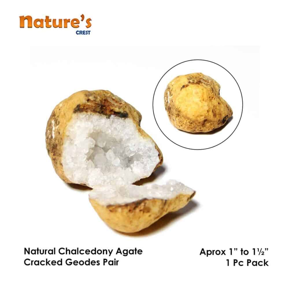 Chalcedony Agate Cracked Natural Geodes Pair Nature's Crest SP002 ₹ 349.00