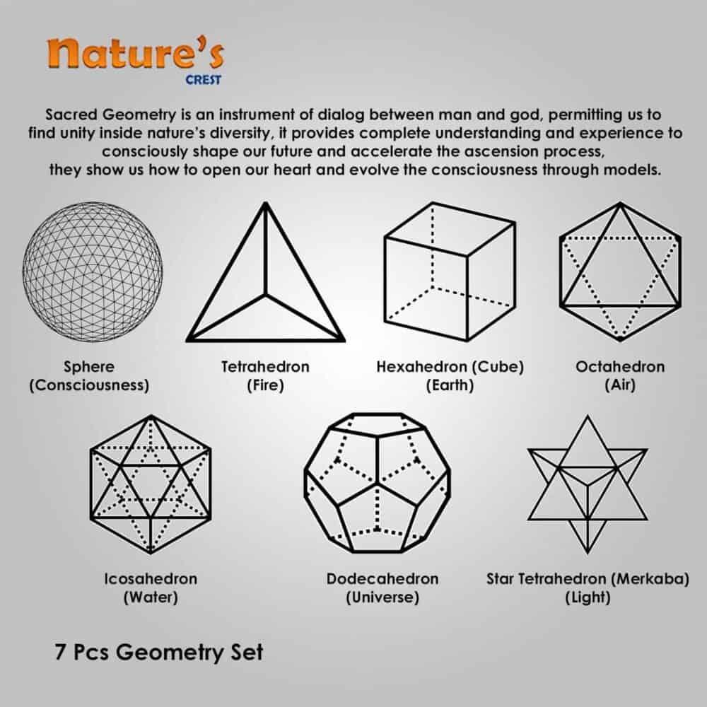 Rose Quartz Platonic Solids 7 Pcs Set Sacret Geometry Set Nature's Crest GS7003 ₹1,399.00