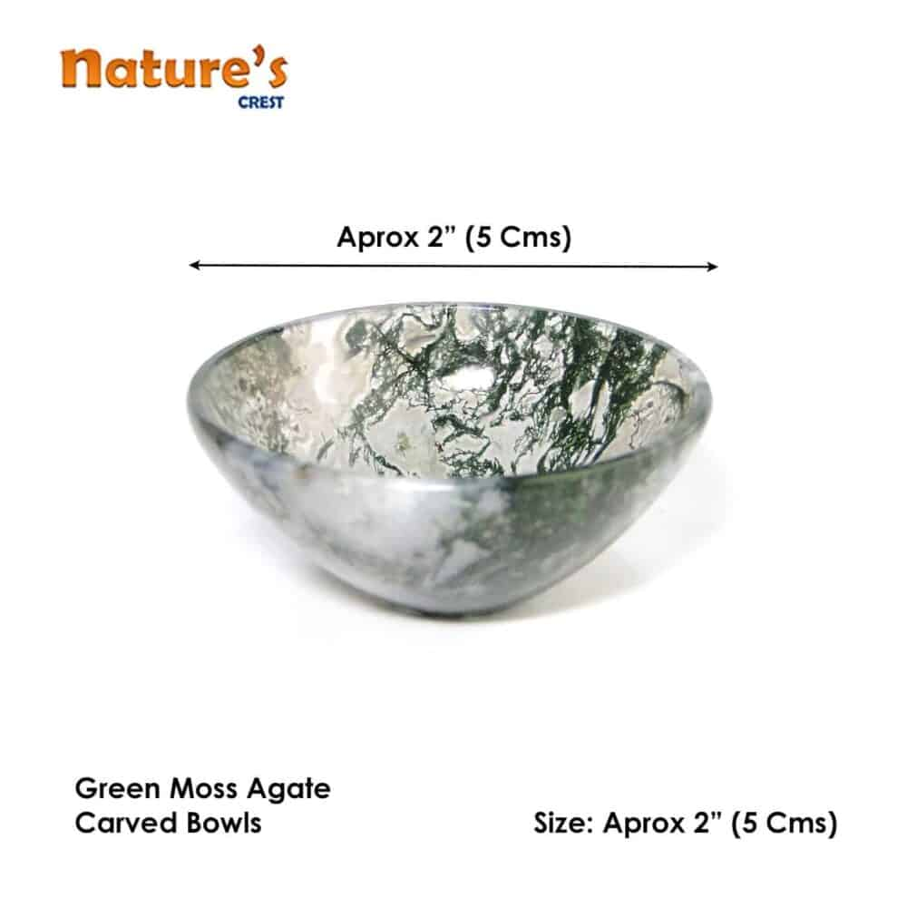 "Green Moss Agate Gemstone Bowl 2"" Nature's Crest BO003 ₹ 949.00"