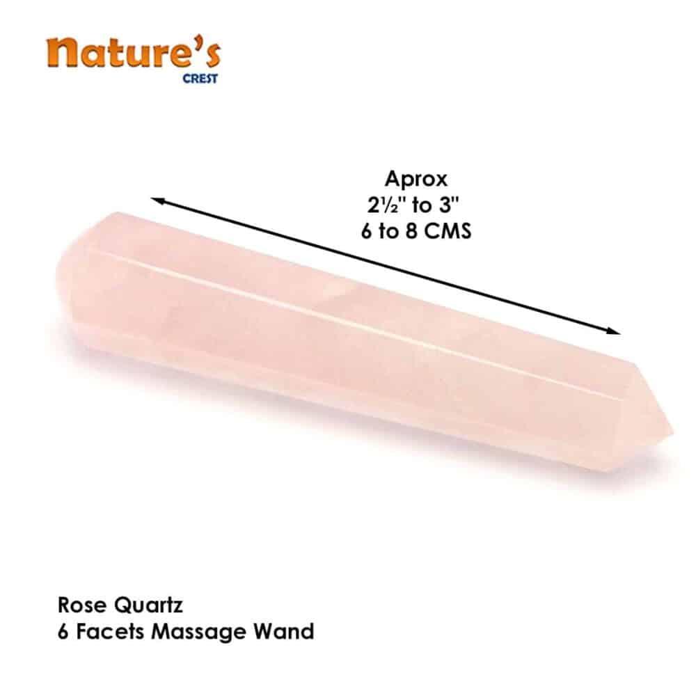 Rose Quartz Healing Wand Massage Stick Nature's Crest MS014 ₹499.00