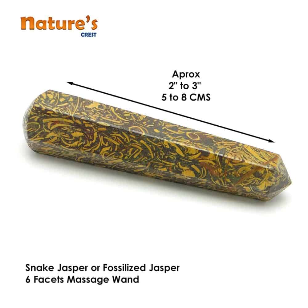Snake Jasper Healing Wand Massage Stick Nature's Crest MS015 ₹ 399.00