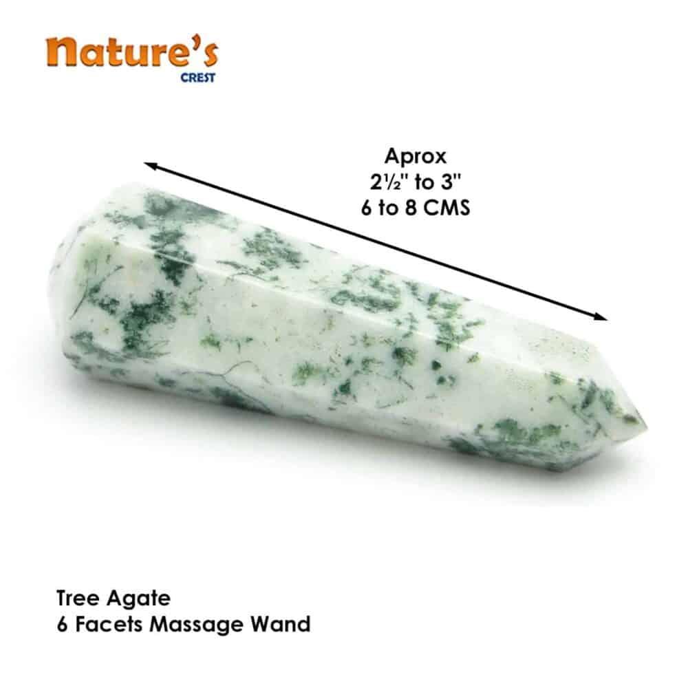 Tree Agate Healing Wand Massage Stick Nature's Crest MS017 ₹399.00