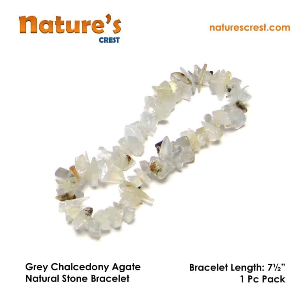 Grey Chalcedony Agate Chip Beads Nature's Crest TC023 ₹ 299.00